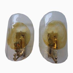 Applique in vetro di Murano e vetro soffiato a mano, Italia, anni '70, set di 2