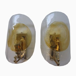 Italian Murano Glass and Hand-Blown Glass Sconces, 1970s, Set of 2