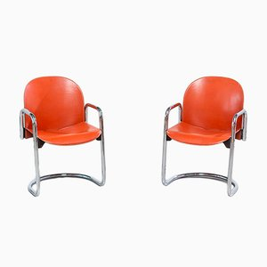 Italian Leather Dialogo Armchairs by Tobia & Afra Scarpa, 1970s, Set of 2