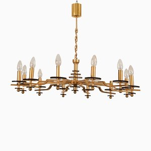 Vintage Italian Brass and Smoked Glass Chandelier, 1970s
