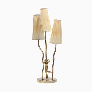 Mid-Century Art Deco Brass Table Lamp, 1950s