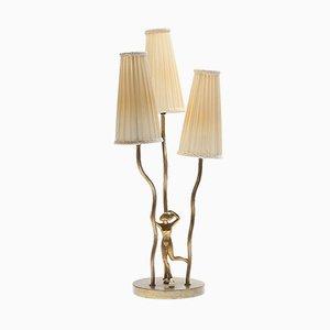 Mid-Century Art Deco Brass Table Lamp, 1950s