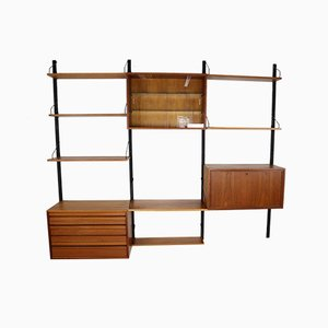Danish Metal and Teak Wall Unit by Poul Cadovius for Cado, 1960s