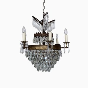 Vintage Brass and Crystal Chandelier, 1920s