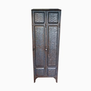 Industrial German Iron Locker Cabinet from Küppersbusch, 1920s