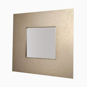 Square Italian Taupe Mirror with Flower Motifs, 1980s