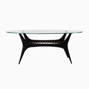 Tavolino da caffè in faggio e vetro di Alfred Hendrickx per Belform, anni '50