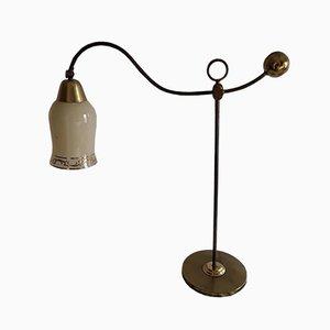 Deutsche Vintage Art Deco Tischlampe aus Messing & Eisen, 1930er