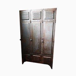 Industrial German Iron Locker Cabinet from Küppersbusch, 1920s
