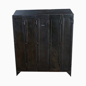 Industrial German Iron Locker Cabinet from Otto Kind, 1920s