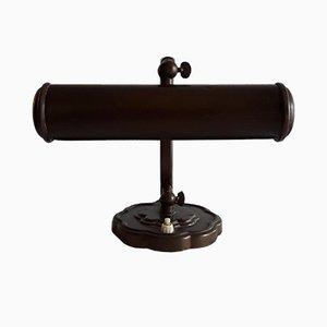 Lámpara de mesa alemana vintage de hierro y latón, años 20