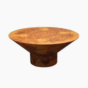 Mesa de comedor Mid-Century redonda de madera nudosa de olivo, años 20