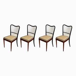 Italian Beech and Brass Dining Chairs, 1950s, Set of 4