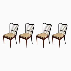 Italienische Esszimmerstühle aus Buche & Messing, 1950er, 4er Set