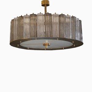 Lámpara de techo italiana de cristal de Murano y latón, años 60