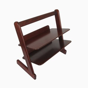 Vintage German Mahogany Magazine Rack, 1970s