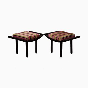 Vintage Beech and Velvet Benches, 1930s, Set of 2