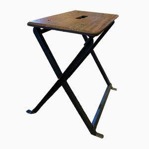 Vintage Industrial German Iron Folding Stool from Würtenbergisches Eisenwerk