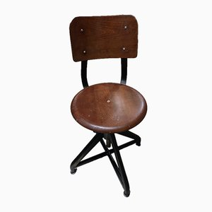 Vintage Industrial German Iron Swivel Chair from AMA