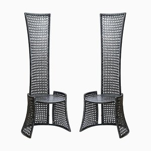 Mid-Century High Back Black Woven Rattan Cane Chairs, 1970s, Set of 2