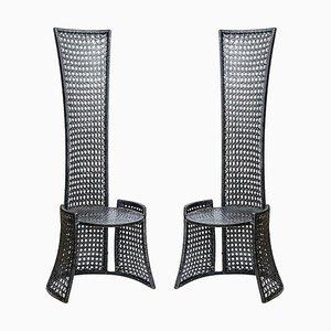 Sedie Mid-Century con schienale alto in vimini intrecciati neri, anni '70, set di 2