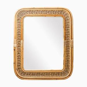 Specchio vintage in bambù e vimini