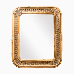 Vintage Woven Rattan Bamboo Mirror