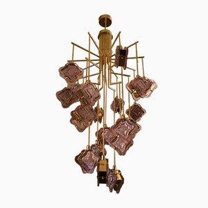 Lampada da soffitto in ottone e vetro di Murano, Italia, anni '70