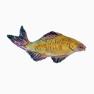 Wandskulptur aus Keramik in Fisch-Optik von Albisola
