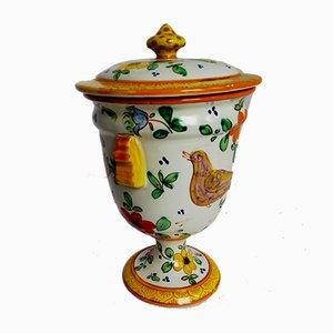 Vaso Mid-Century in ceramica con coperchio di Guerrieri Murano, Italia