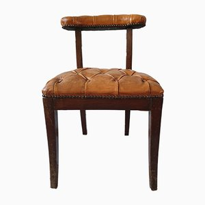 Antique Leather and Wood Side Chair