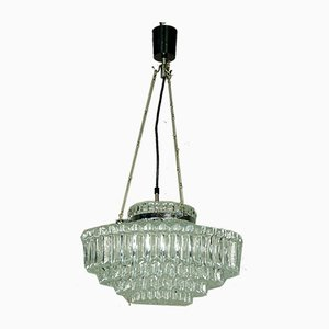 German Chrome Plating and Glass Ceiling Lamp from Hillebrand Lighting, 1960s