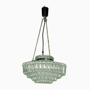 Lámpara de techo alemana de metal cromado y vidrio de Hillebrand Lighting, años 60