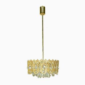 Deutsche Deckenlampe aus Messing & Kristallglas von Palwa, 1960er