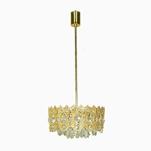 German Brass and Crystal Ceiling Lamp from Palwa, 1960s
