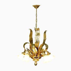 Vintage French Glass and Steel Chandelier, 1970s