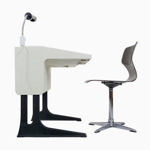 Juego de escritorio, lámpara y silla de Luigi Colani para Flötotto, años 70