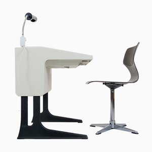 Scrivania, lampada e sedia di Luigi Colani per Flötotto, anni '70