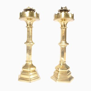 Antique Gothic Brass Candleholders, Set of 2