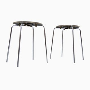 Danish Plywood and Tubular Steel Stools by Arne Jacobsen for Fritz Hansen, 1974, Set of 2