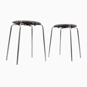 Sgabelli Dot in compensato e acciaio tubolare di Arne Jacobsen per Fritz Hansen, Danimarca, 1974, set di 2