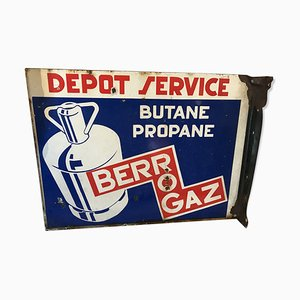 Vintage Enameled Double-Sided Berogaz Sign, 1960s