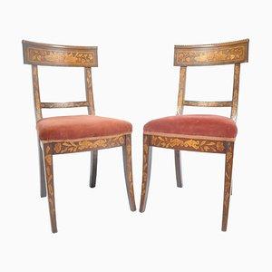 Antike niederländische Beistellstühle aus Holz, 2er Set