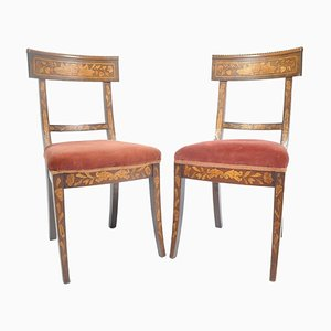 Antique Dutch Wood Side Chairs, Set of 2