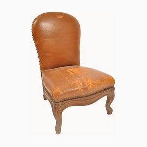 Antique French Leather and Oak Chair