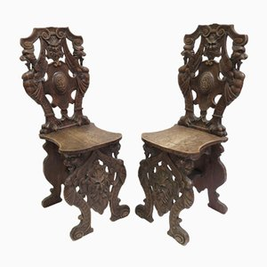 Antique Italian Carved Walnut Hall Chairs, Set of 2