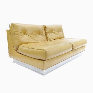 Space Age French Leather Sofa by Jacques Charpentier, 1970s