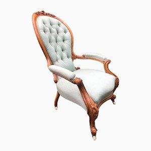 Antiker Spoonback Sessel aus Walnussholz