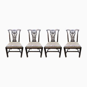 Antique Chippendale-Style Mahogany Side Chairs, Set of 4