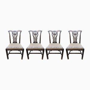 Chaises d'Appoint Chippendale Style George III Antiques en Acajou, Set de 4